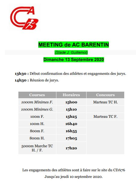 Horaire du meeting régional du 13/09/2020
